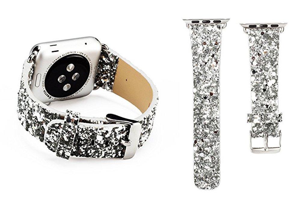 magicfeelフローラル印刷ナイロンレザーApple Watchバンド、交換用ストラップ腕時計バンドfor Apple Watch iWatchシリーズ1シリーズ2 Silver-42MM Silver-42MM B0755TDT1M