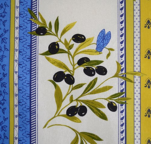 Provençal Stripe Olives Fabric (Ultramarine Powder Blue and Green Yellow) - 100% Cotton Acrylic-coated Fabric (Wipe Clean) - 61 Inches (155cm) Wide. Per Yard