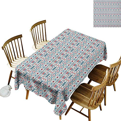 kangkaishi Rectangular tablecloths in a Variety of Colors and Sizes Can be Used for Parties Native Traditional Art with Mexican Cultural Origins Geometric Borders Triangles W14 x L108 Inch Multicolor