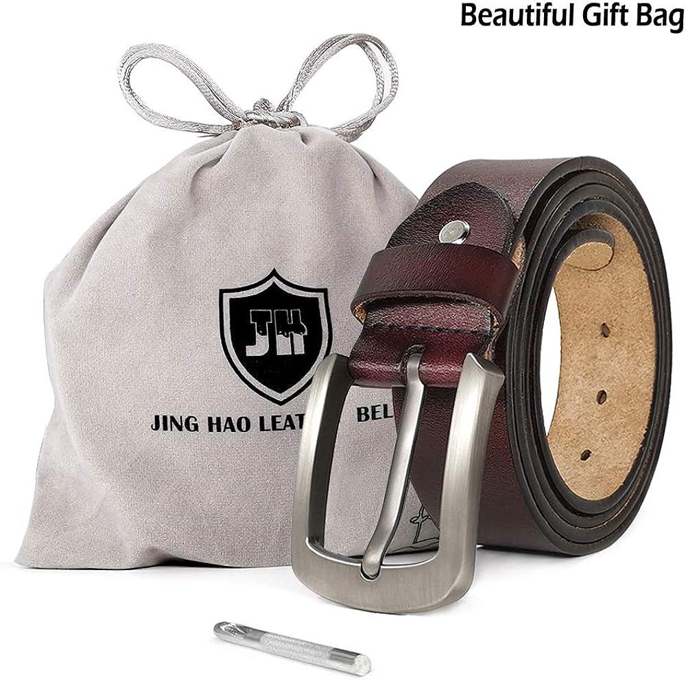 JingHao A20 Ceinture pour homme Ceintures en cuir v/éritable pour Jeans Grande taille S-9XL