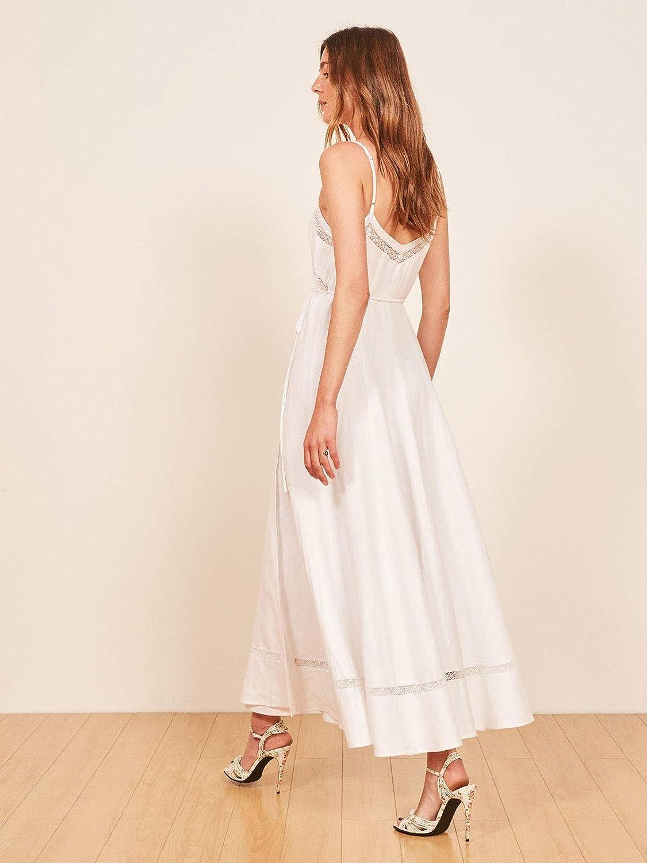 Fenghuavip Boho Wedding Dress for Beach,White Bridal Wedding Dress with Belt