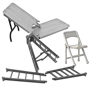 Special Deal 10 Inch Silver Ladder, Silver Table And Folding Chair For WWE  Wrestling Action