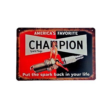 DiiliHiiri Cartel de Chapa Vintage Decoración, Letrero A4 Estilo Antiguo de metálico Retro - Americas Favorite Champion