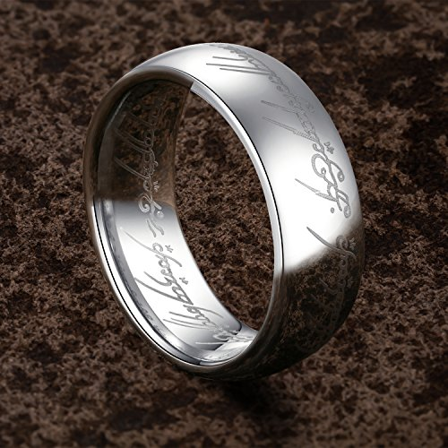 TUSEN JEWELRY Lord of The Rings Silver Color Tungsten Ring Size 7 by TUSEN JEWELRY (Image #2)