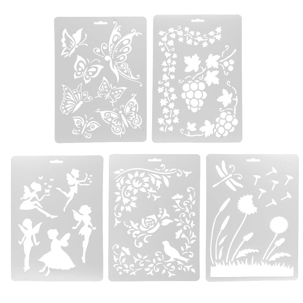 MagiDeal 5X Plantilla de Dibujo Decoración Carta Foto álbum Letra de Escritura Decoración Bricolaje Niños Profesionales DIY - Artesanía 3: Amazon.es: Hogar
