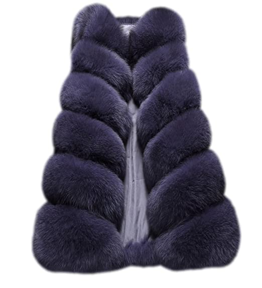 FOLOBE Womens Invierno Faux Pelo Abrigo Chaleco Chaqueta Azul Oscuro S