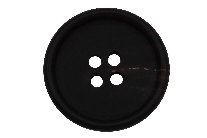 echt Büffel Horn Knöpfe 4 Löcher dunkel braun gefärbt matt flach 6 Stück