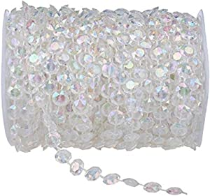 99FT(30M) Acrylic Diamond Garland Strands Crystal Beads Curtain Wedding DIY Party Decor