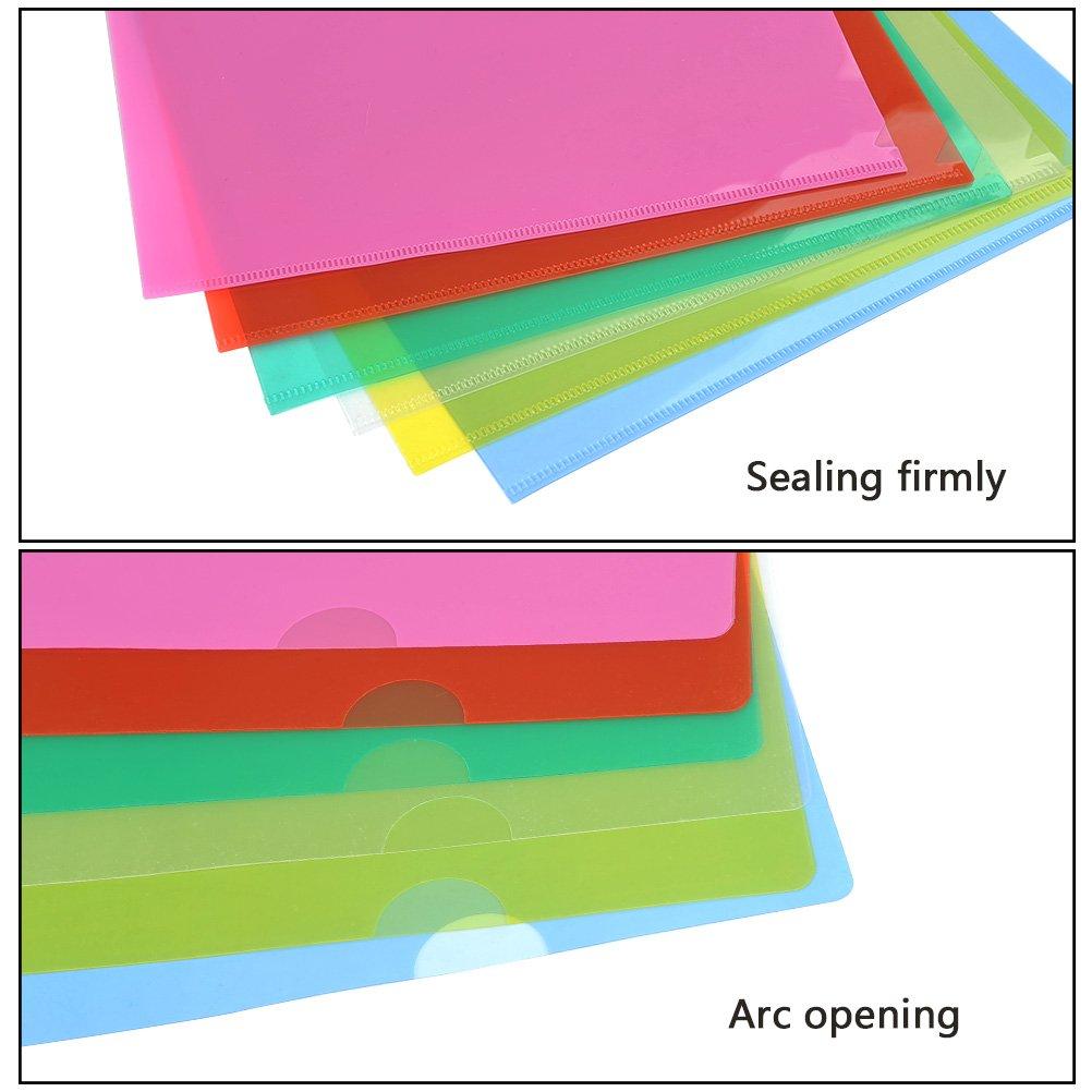 YOTINO Busta a L/in plastica colorata formato A4 di cartellina assortiti 6 colori X 4Pcs trasparente, giallo, verde, blu, rosa, rosso