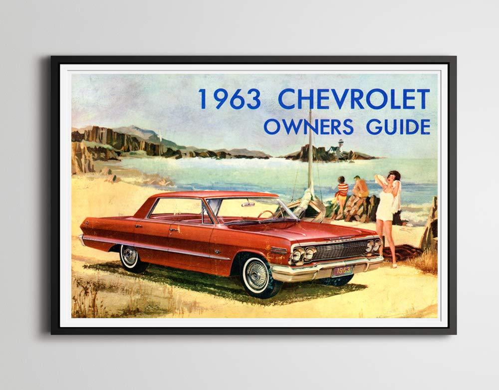 Amazon Com Vintage Chevrolet Impala Beach Poster Up To 24 X 36 Classic Car Vintage Chevy 1963 Owner S Manual Retro Vintage Handmade