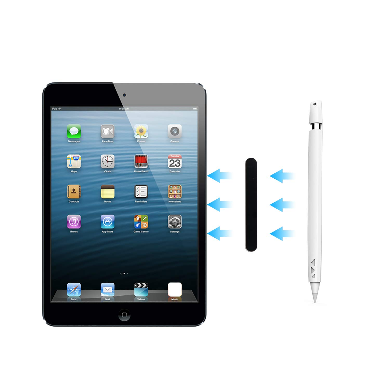 Magnetic Sleeve for Apple Pencil,Silicone Case Holder with Lip,Protective Shell Cover Grip with Cap for iPad Pro Pencil,Protects Apple Pencil from Shock Damage, Scratches, Dirty and Slips, White