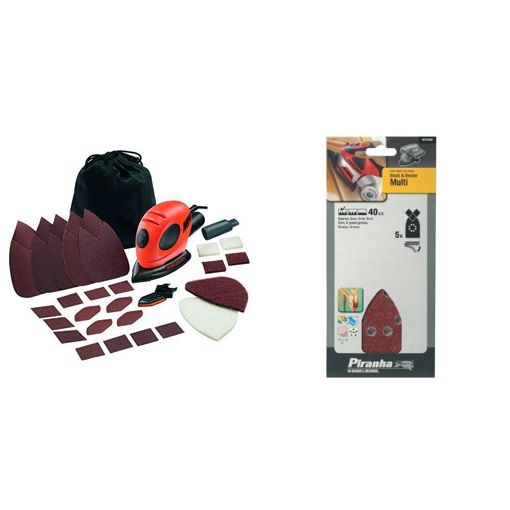 Decker KA161BC-QS Multi Ponceuse /Électrique /à fil 55 W Decker X31432 Papier abrasif pour ponceuse Gros grain Lot de 5 Import Grande Bretagne Black Black