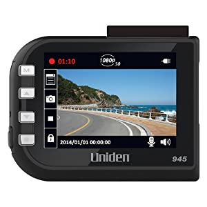 "Uniden DC4, 1080p Full HD Dash Cam, 2.4"" LCD, G-Sensor with Collision Detection, Loop Recording, 148-degree Wide Angle Lens, Lane Departure Warning, 8GB Micro SD Card Included"