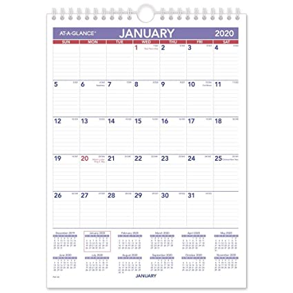 Small Calendar Of November And December 2020 Amazon.: AT A GLANCE 2020 Monthly Wall Calendar, 8