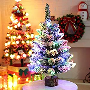 Amiley Christmas Tree Decorations , Artificial Flocking Snow Christmas Tree LED Multicolor Lights Holiday Window Decorations Christmas gift 9