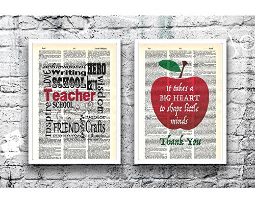 Teacher Inspirational photo set of (2) dictionary art prints 8x10