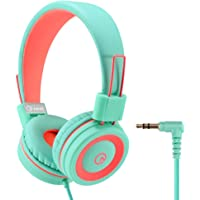 Kids Headphones - noot products K11 Foldable Stereo Tangle-Free 3.5mm Jack Wired Cord On-Ear Headset for Children/Boys/Girls/iPad/School/Kindle/Airplane/Plane/Tablet - Mint/Coral