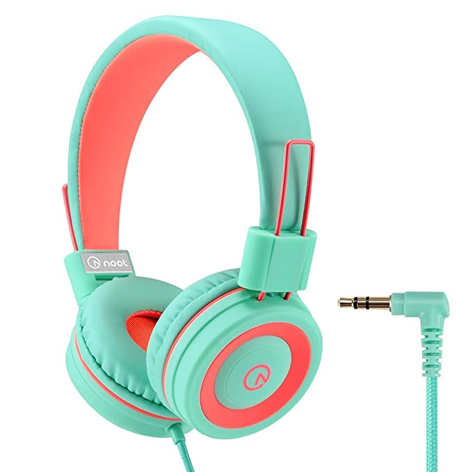 Review Kids Headphones - noot products K11 Foldable Stereo Tangle-Free 3.5mm Jack Wired Cord On-Ear Headset for Children/Boys / Girls/iPad / School/Kindle / Airplane/Plane / Tablet - Mint/Coral