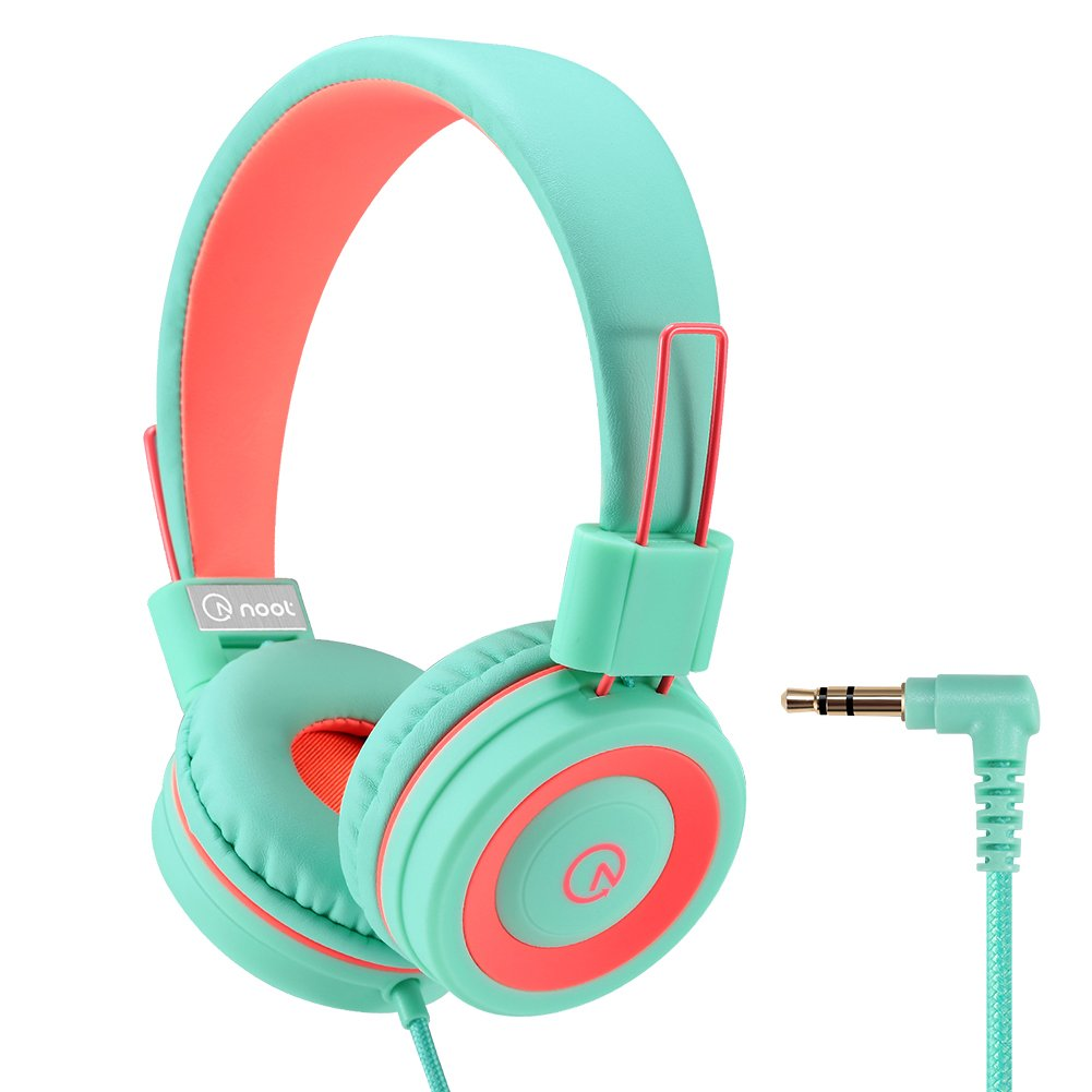 Kids Headphones - noot products K11 Foldable Stereo Tangle-Free 3.5mm Jack Wired Cord On-Ear Headset for Children/Teen/Boys/Girls/iPad/iPhone/School/Kindle/Airplane/Plane/Tablet - Mint/Coral