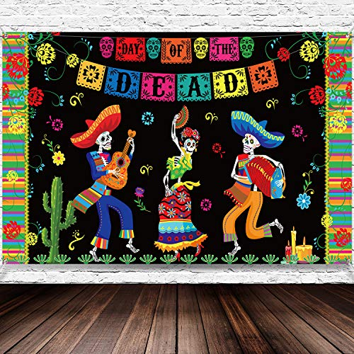 Day of The Dead Party Supplies, 6 x 3.6 ft Extra Large Fabric Day of The Dead Backdrop Banner for Halloween - Party Decoration Photo Booth Backdrop Skull Background Banner (Day Of The Dead Party Supplies Bulk)