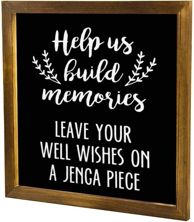 EricauBird Leave Your Well Wishes On a Jingo, cartel de madera gigante Jenga decorativo, cartel enmarcado para casa, boda, fiesta, granja, regalo personalizado de inauguración de la casa, 12 x 12: Amazon.es:
