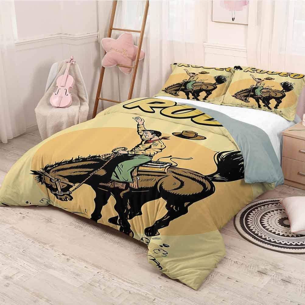 prunushome 1950s Decor Bedding-Sets Duvet Cover for Fathers Day Old Style Art of Rodeo Cowboy Riding Horse American Wild West Artistic Work Mostbest Bedding Twin Size