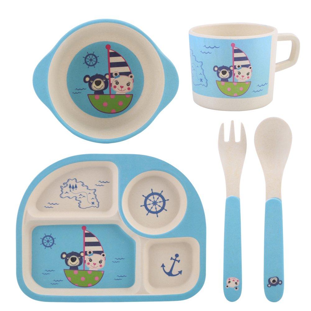 Zerodis 5Pcs/Set de Vaisselle Enfants Plaque Alimentaire Bol Cuillè re Fourchette Bande Dessiné e Non Toxique Bambou Fiber et Eco Friendly Enfants Saine Repas(#1)