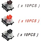OUTEMU (Gaote) Black/Red/Brown Switch 3 Pin Keyswitch DIY Replaceable Switches for Mechanical Gaming Keyboard (30 PCS)