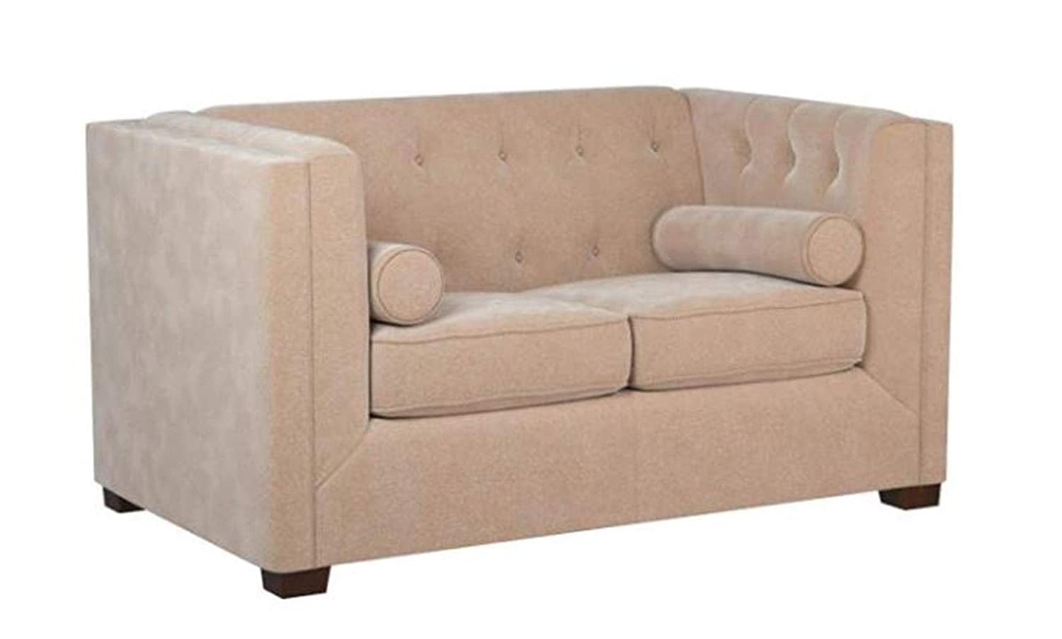 Coaster Home Furnishings Alexis Chesterfield Stationary Loveseat with Track Arms Almond