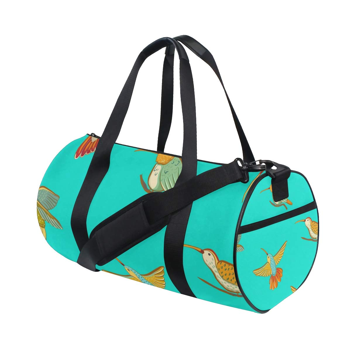 Travel Weekender Duffel Bag for Man and Woman Gym Bag with Hummingbird Lover Green Print