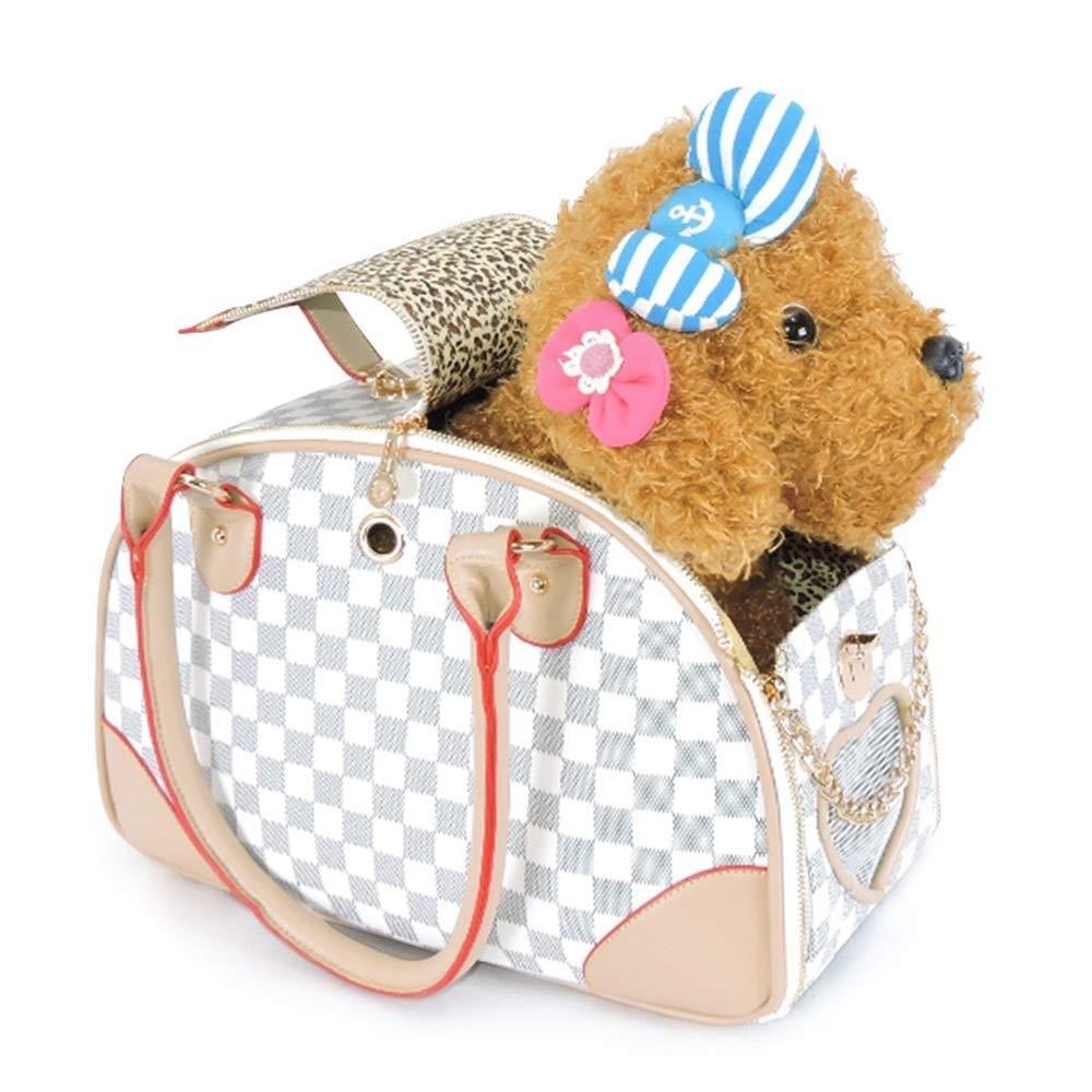 IRVING Pet Travel Bag,Fashion Handbag Pet Supplies pet Bag, Dog Bag cat Bag, pet Out Device, Ventilation net, Safety Buckle, Storage Bag, Portable (color   White, Size   L)