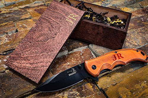 Engraved Groomsmen Box Gift- Personalized Knife  Wooden Boxes- Custom Pocket Knives- Groomsman Set Husband Hunting Man Mens Boyfriend Wedding Gifts F…