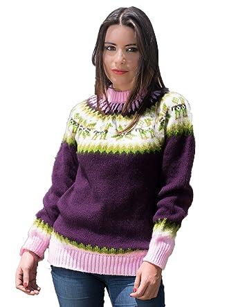 7221cfd89e940c Amazon.com: Gamboa - Warm and Soft Alpaca Sweater for Women - Violet ...