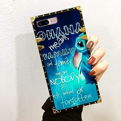 Disney Collection Stitch Wallpaper Case For Iphone 7 Plus Iphone 8 Plus Luxury Square Edges Phone Cover Shock Bumper