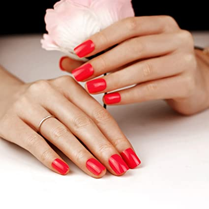 Art plus 24pcs Rose rojo Set de uñas postizas manicura francesa Full ...