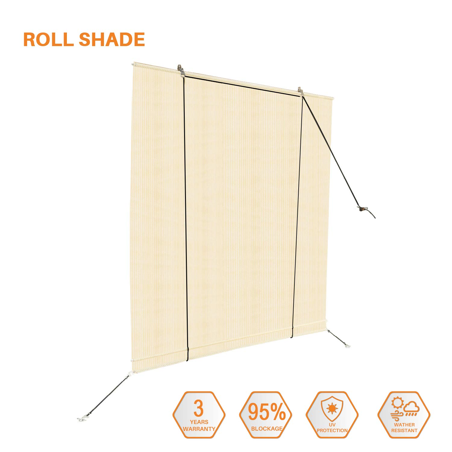 TANG Sunshades Depot Exterior Roller Shade Roll up Shade for Patio Deck Porch Pergola Balcony Backyard Patio or Other Outdoor Spaces Blinds Light Filtering Block 90% UV Rays 7' W x 5' L Beige