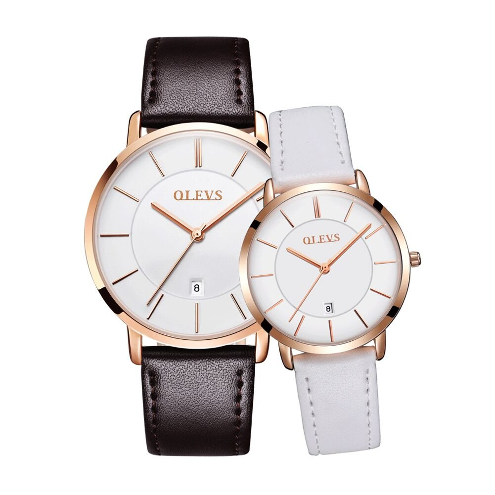 OLEVS His and Hers Couples Quartz Watch,Business Casual Fashion Analog Wrist Watch Classic Calendar Date Window, Waterproof 30M Water Resistant Comfortable Leather Watches by Fate Love (Image #1)
