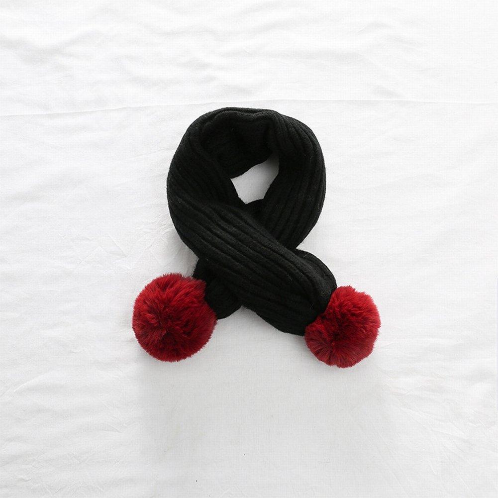 Bufanda Bola de Pelo Doble Collar de Punto Cálido Cálido Moda Chica Bufanda de Lana 179606 , negro