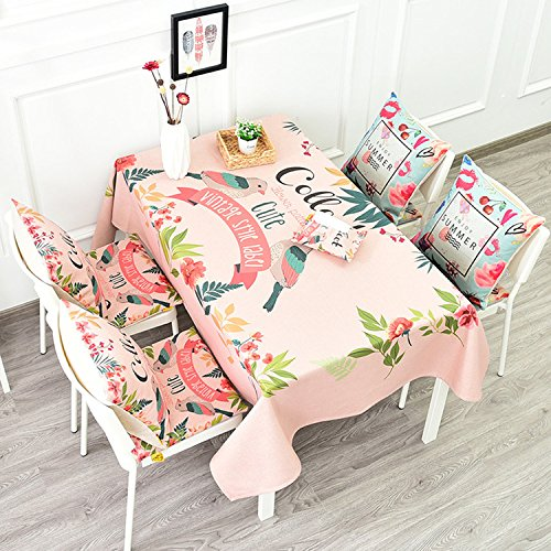 GWELL Tablecloth,Pink Romantic Birds Flowers Art Design,100% Linen Cotton Rectangular Table Cover for Dining Room Kitchen(55x55'', #7) - 46' Round Dining Table
