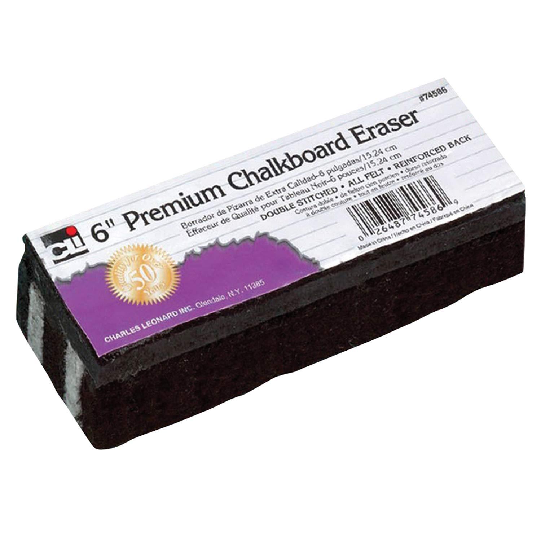 Charles Leonard CHL74586BN Premium Chalkboard Eraser, 6'', Pack of 12, Black/White