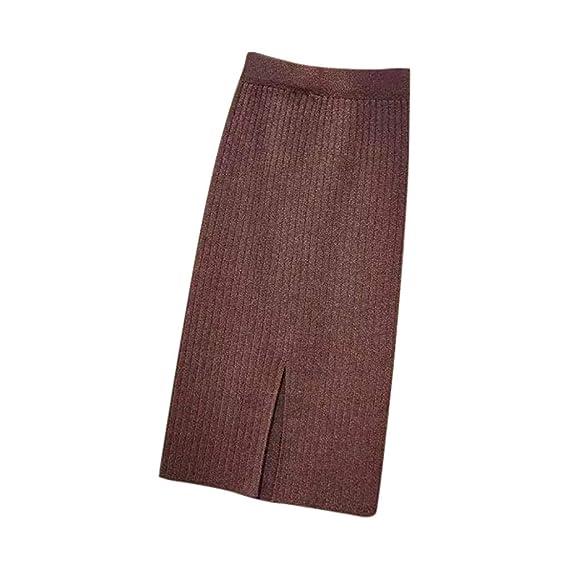 Longra@ Faldas elásticas para Mujer Falda suéter Recto cálido de ...