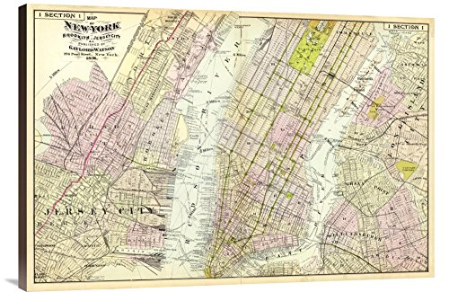 "Universal Gallery GCS-294935-36-144 ""Historical Map Frederick W. Beers New York Brooklyn In This Case That Color Is Turkish Coffee 1891"" Museum Wrap Giclee on Canvas Lose everything Art Print"