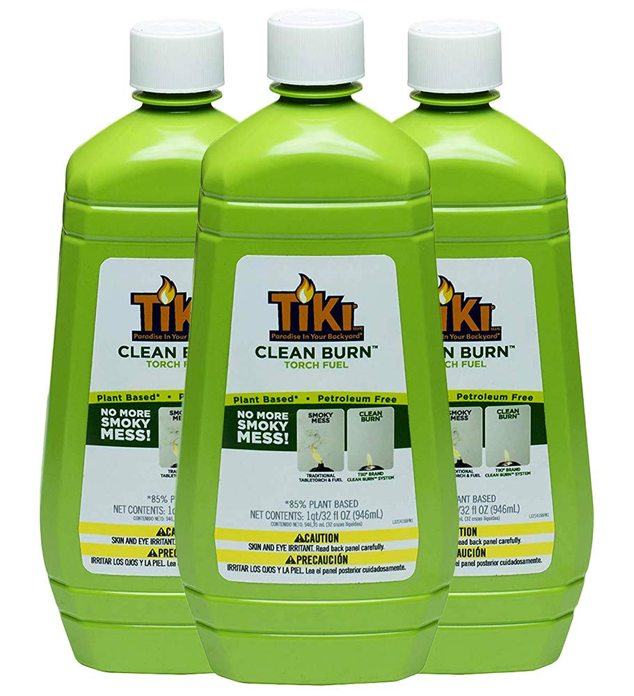 Tiki Brand Clean Burn Torch Fuel, No More Smoky Mess, 32 Ounce Bottle - Pack of 3