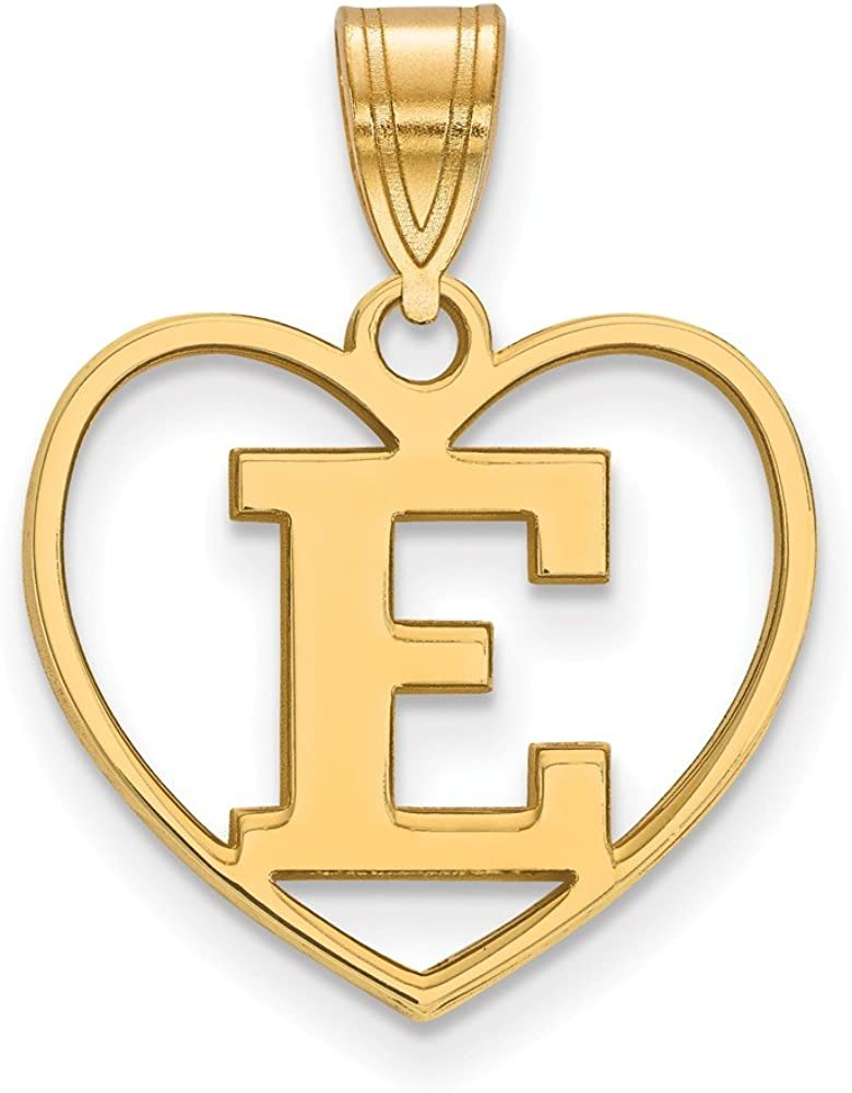925 Sterling Silver Yellow Gold-Plated Official Eastern Michigan University Pendant Charm in Heart 21mm x 17mm