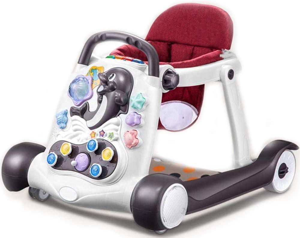 Los andadores, Anti-O-Pierna del bebé del Cochecito de bebé Actividad Walker, Multifuncional 6-24 Meses de bebé antivuelco niño Pueda Sentarse y Caminar Push lalay (Color : Red)