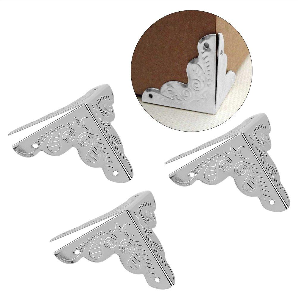 Haofy 12 Piezas Protector de Esquina de Metal en Forma de Triá ngulo para Decorativo de Caja Protector de Cubierta (Dorado)