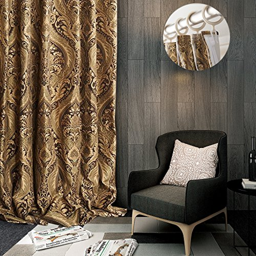 ChadMade Flat Hook Luxury Heavy Weight Rayon Chenille Floral Jacquard 50Wx84L Inch Energy Saving Lined Curtain Panel Drapery for Bedroom | Living Room | Club | Restaurant | Villa