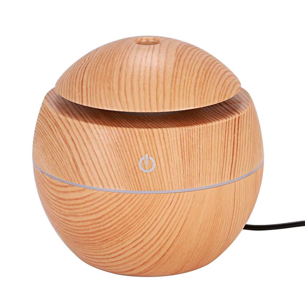 LED USBの誘導の木製の穀物の加湿器の超音波空気拡散器(薄茶 niomou B07Q1XGS9B ライトブラウン、LEDライト
