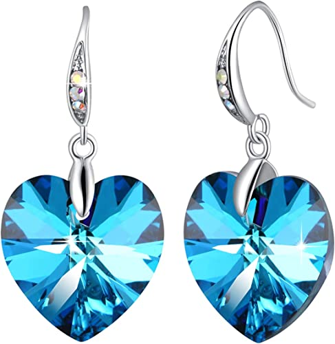 Sparkling Blue Crystal Stone Drop Dangle Jewellery Set Necklace Pendant Earring