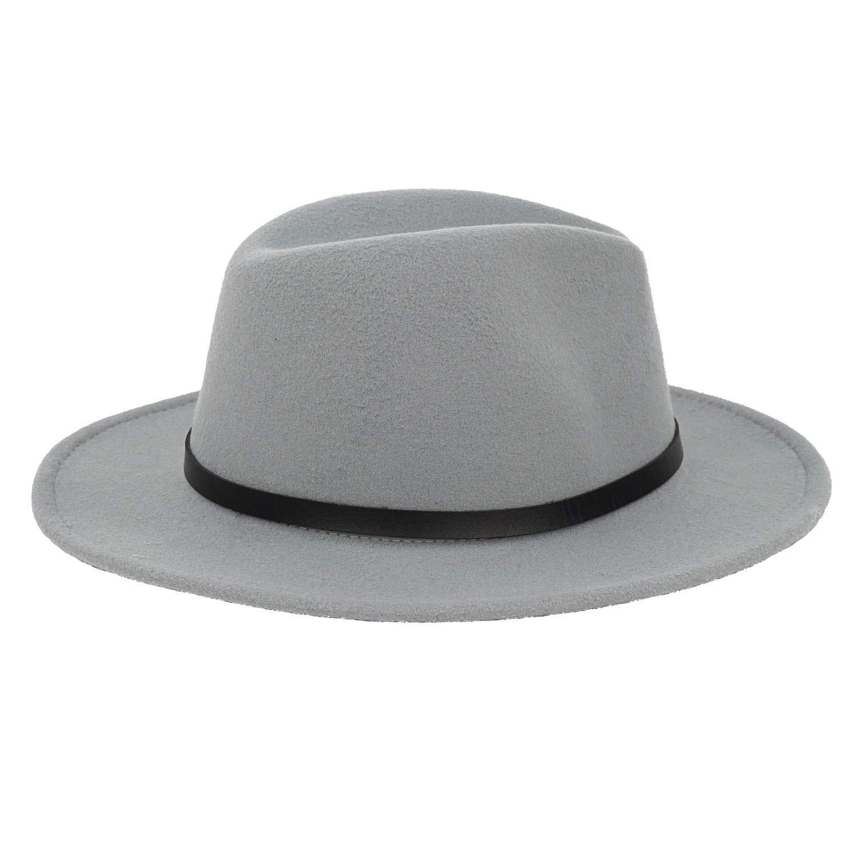 B.J. Women's Wide Brim Wool Floppy Panama Hat with Belt Buckle Fedora Hat Grey by B.J. (Image #5)